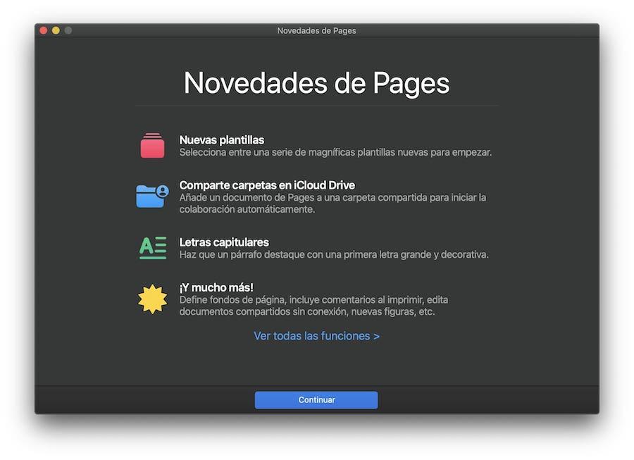 Novedades en Pages
