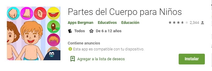 App Partes del Cuerpo para Niños