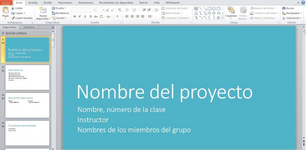 Plantilla Presentación de proyecto en grupo