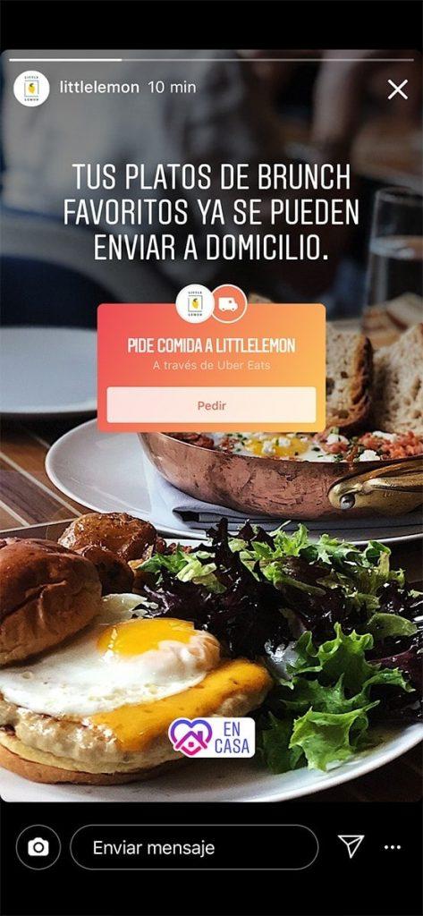 """Sticker """"pedido de comida"""" en Instagram"""
