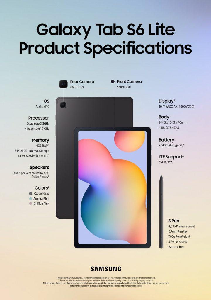 Especificaciones Samsung Galaxy Tab S6 Lite