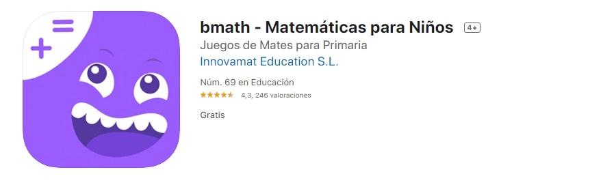 Bmath Matemáticas para Niños de 7 años app del iPad