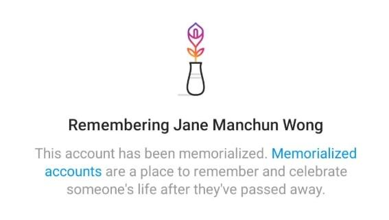 Mensaje de Instagram acerca del propósito de las cuentas conmemorativas.