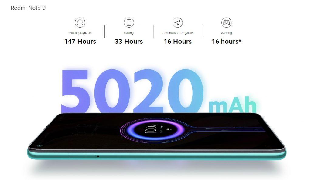 Batería y autonomía del Redmi Note 9