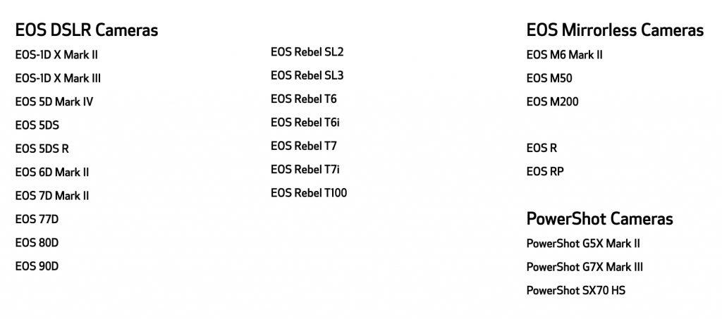 Modelos de cámaras Canon que permiten el uso del software EOS Webcam Utility.