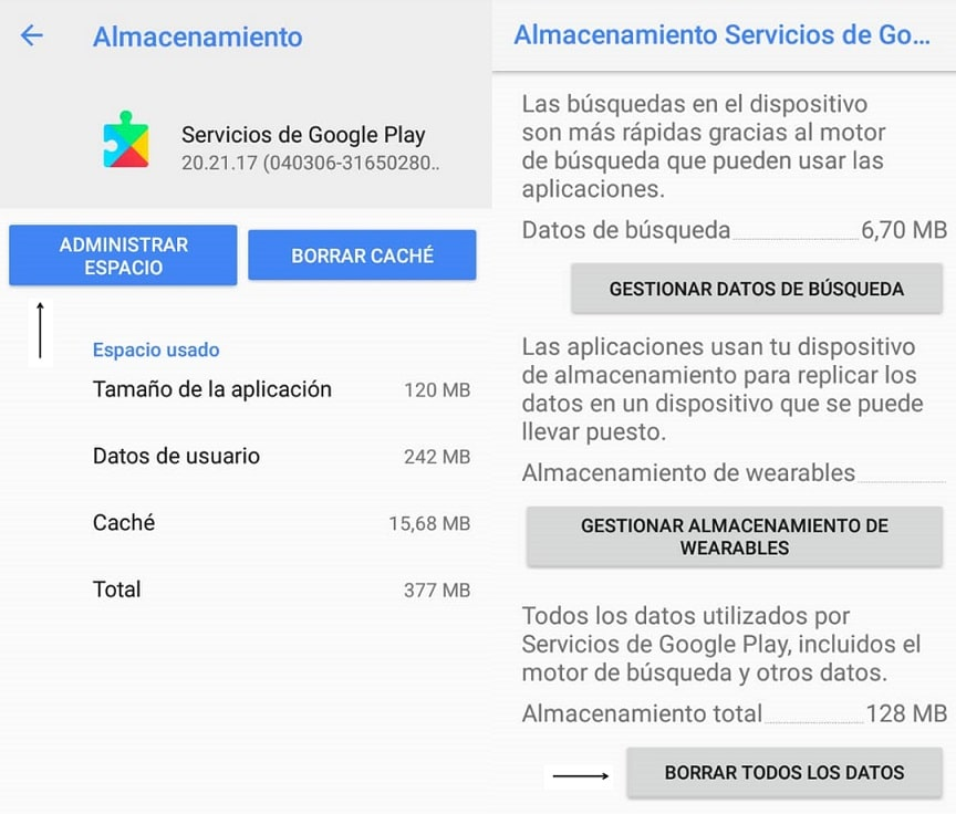 Eliminar datos de Google Play Services