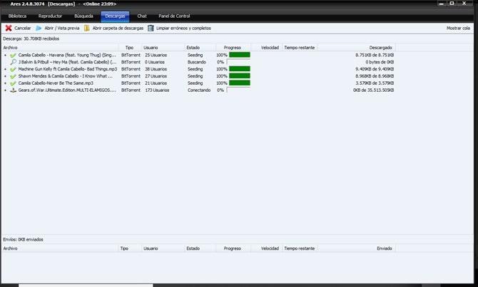 Descarga de archivos en Ares 2020