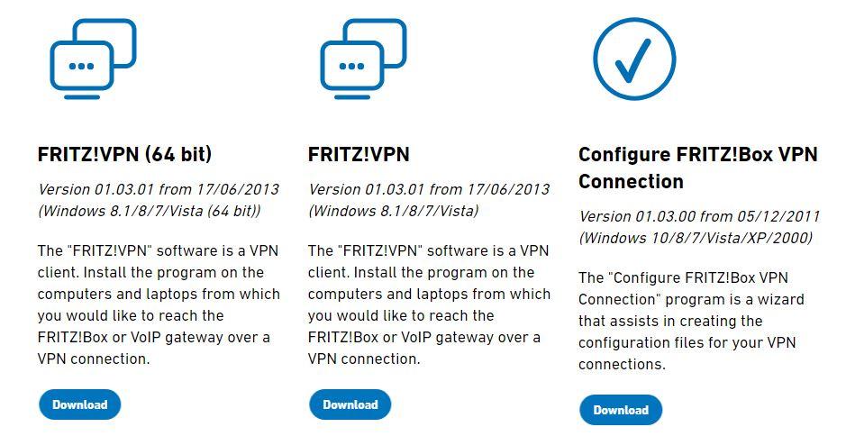 Archivos para configurar un VPN en una FRITZ!Box