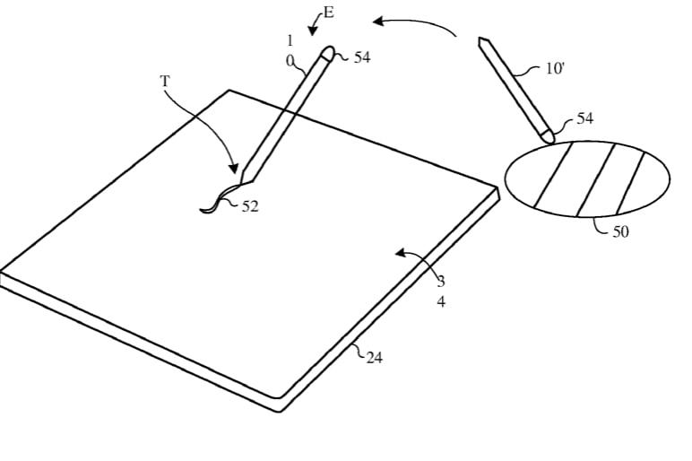 Imagen en la que se ve la patente del Apple Pencil analizando colores