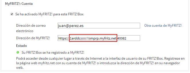 Nombre de dominio de MyFRITZ!