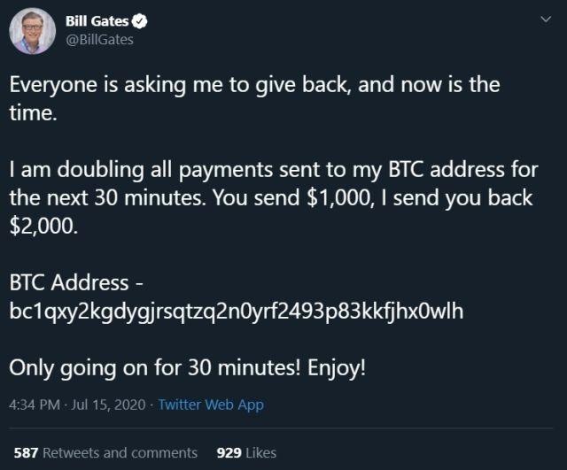 Bill Gates hackeado diciendo que va a compartir el doble de Bitcoin que le lleguen