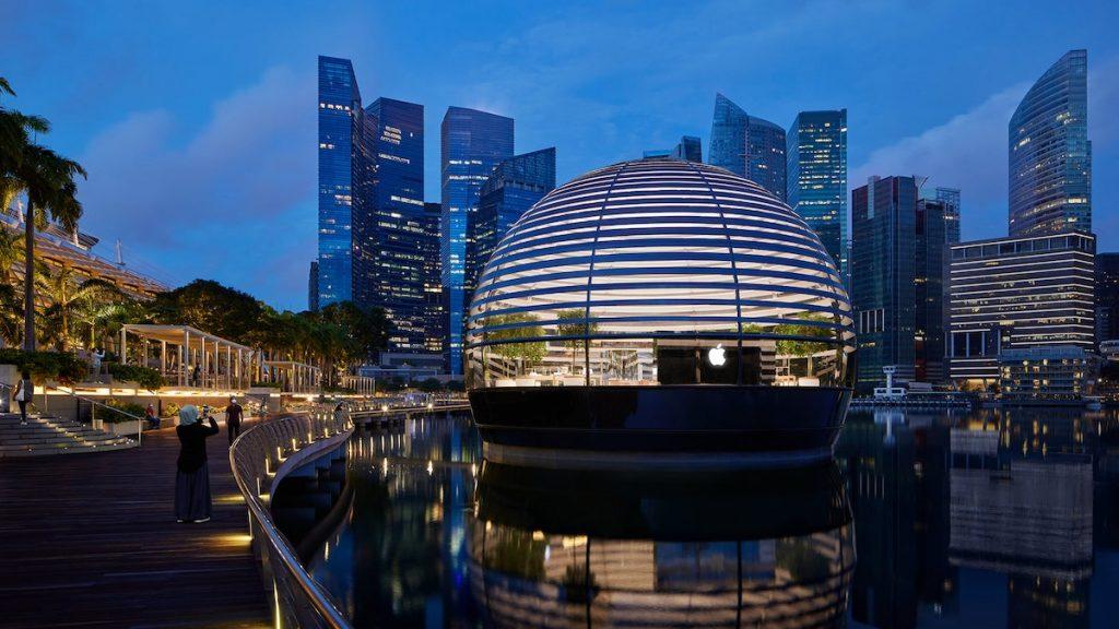 Apple tienda en Singapur sobre el agua