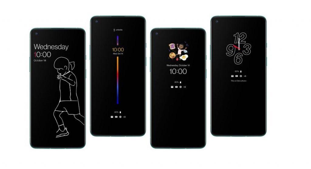 OnePlus 8T visualización del reloj