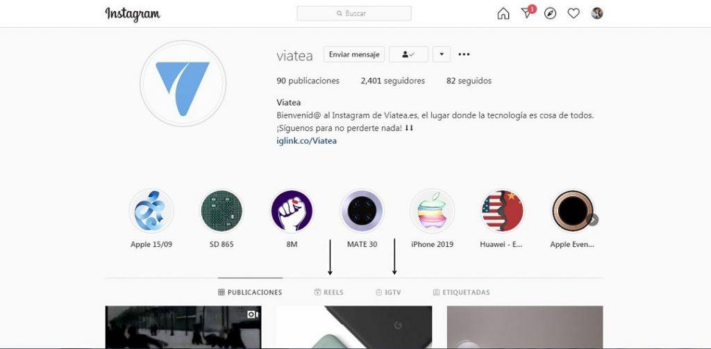 Perfil de Instagram de Viatea