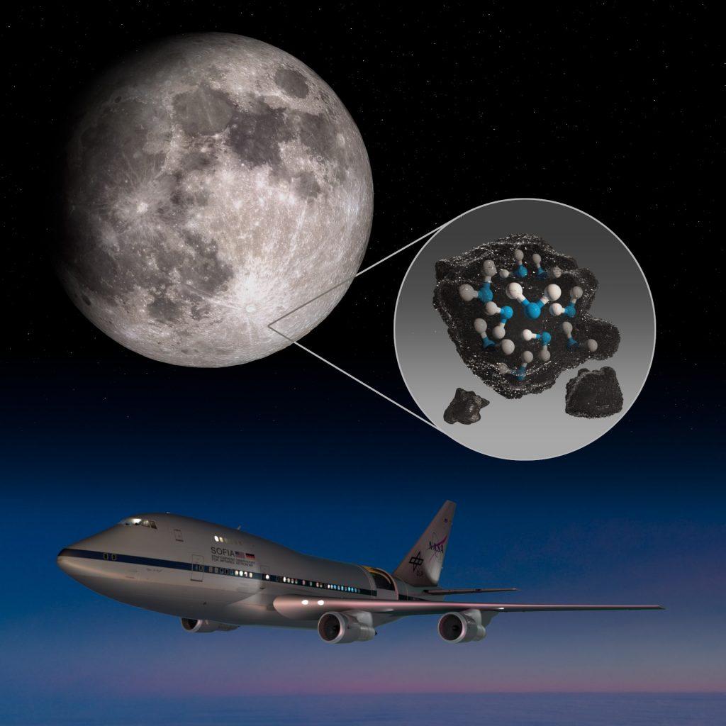 SOFIA descubre la presencia de agua en la luna.
