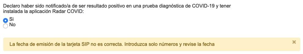código problema radarcovid gva comunidad valenciana