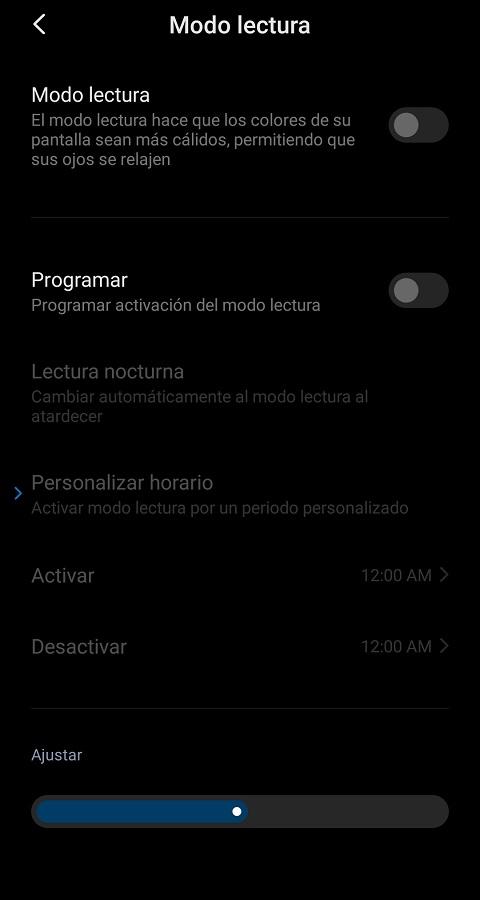 Modo lectura Redmi Note 8 Pro