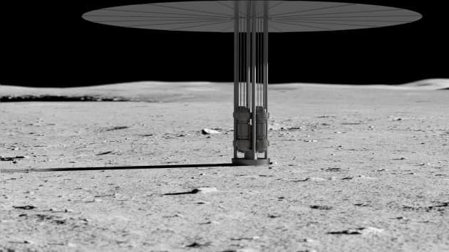 Modelo de reactores nucleares en la Luna.