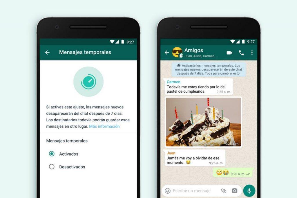 Mensajes temporales de Whatsapp