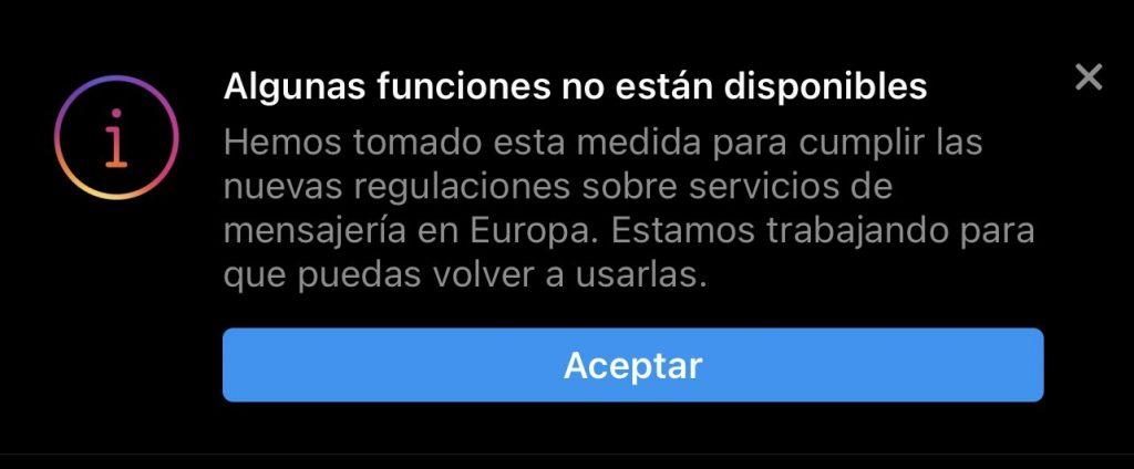 Notificación de funciones no disponibles de Instagram y Facebook en Europa.