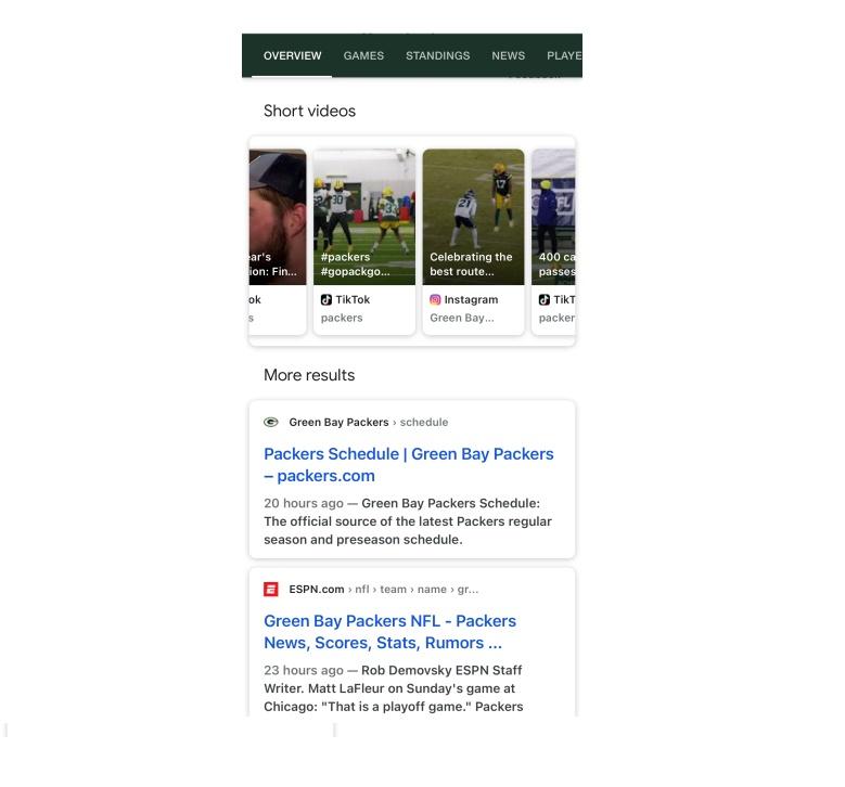 Google muestra vídeos cortos de TikTok e Instagram en su navegador.