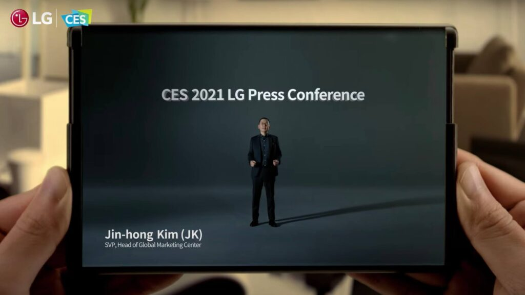 LG presenta el LG Rollable durante el CES 2021.
