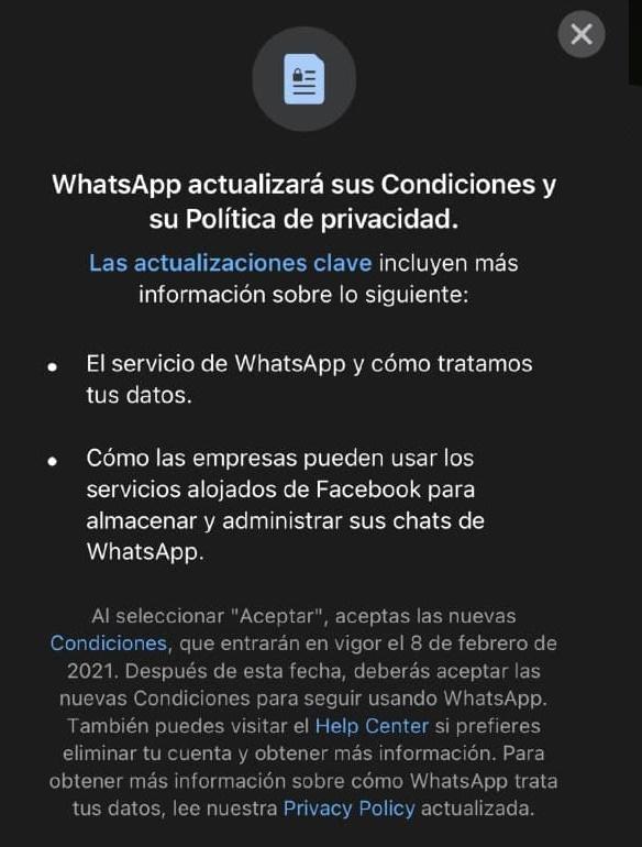 WhatsApp retrasa su nueva política de privacidad obligatoria.