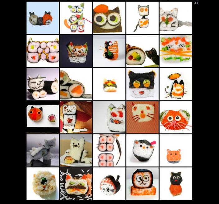 DALL-E de OpenAI. Ejemplo de búsqueda de gatos hechos se sushi.