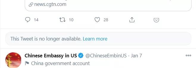 Twitter bloqueó tweet de la embajada de China en Estados Unidos.
