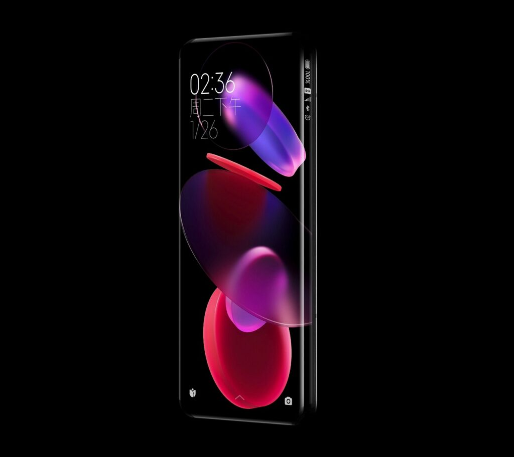 Nuevo concepto de pantalla de cascada de cuatro curvas de 88° de Xiaomi Unibody.