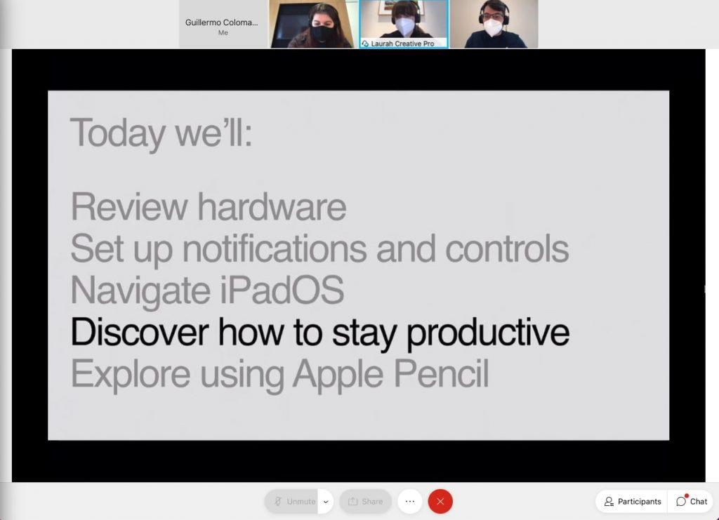 índice de lo que se va a llevar a cabo en la sesión introductoria del iPad
