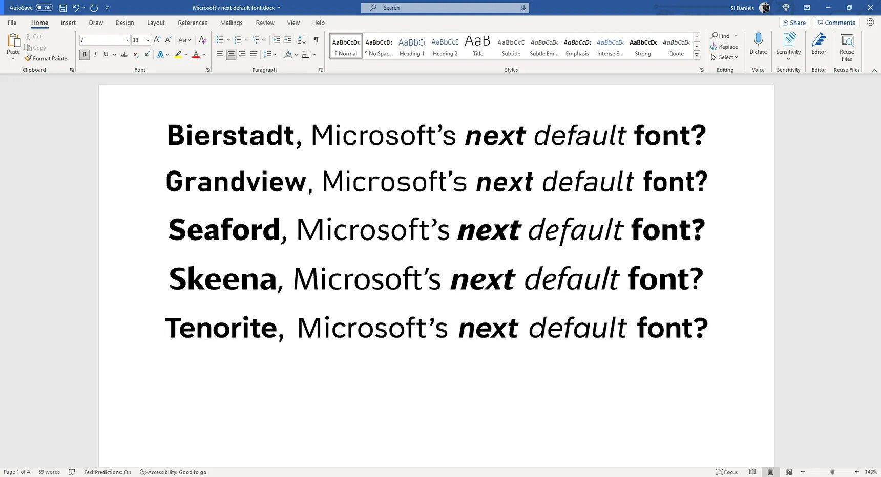Microsoft cambia sus fuentes en office