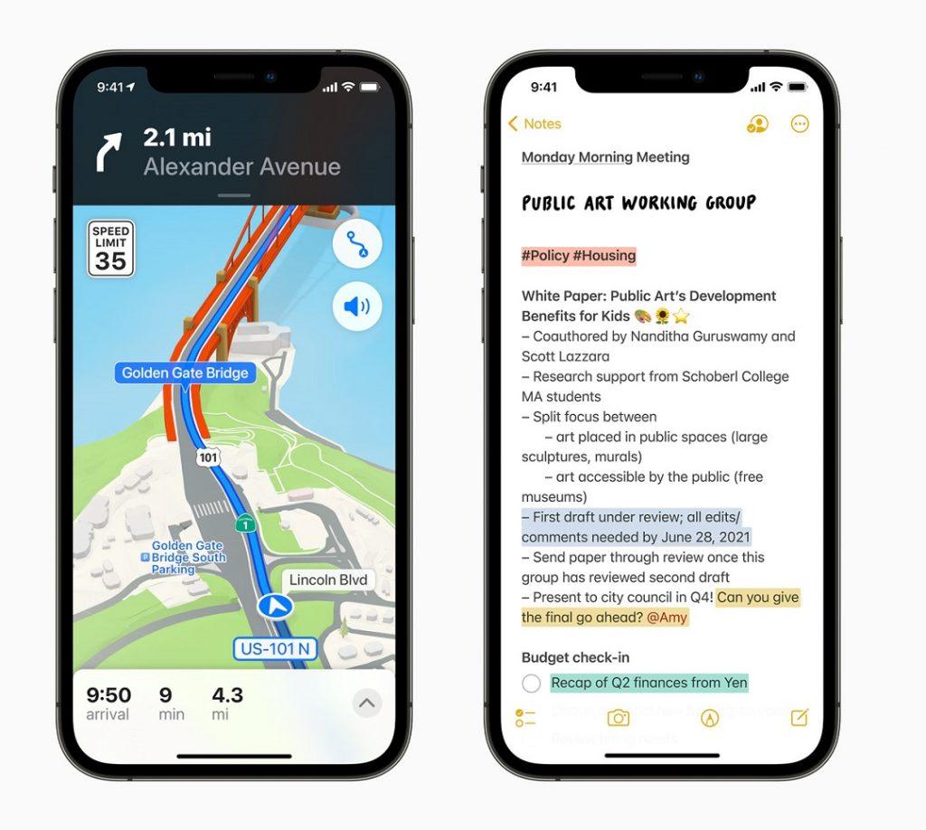 Novedades en Mapas y Notas iOS 15
