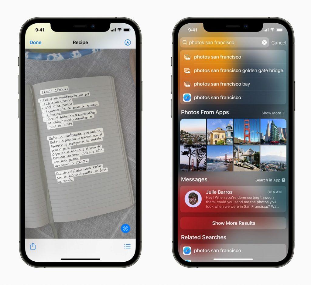 Herramientas Texto Vivo y Spotlight iOS 15