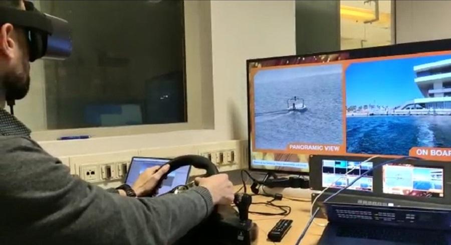 Navegación remota en el Stand de Orange en la MWC 2021.