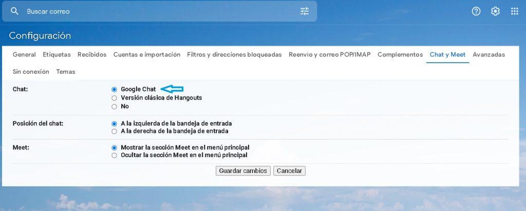 Opción de Google Chat.